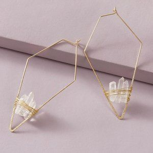 NWT 1pair Stone Decor Irregular Geometric Earrings